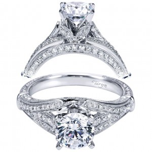 Taryn 14k White Gold Round Split Shank Engagement Ring TE6957W44JJ
