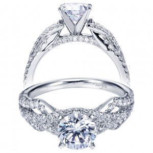 Taryn 14k White Gold Round Split Shank Engagement Ring TE7548W44JJ