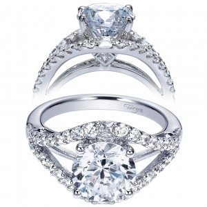 Taryn 14k White Gold Round Split Shank Engagement Ring TE8493W44JJ