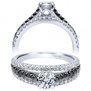 Taryn 14k White Gold Round Split Shank Engagement Ring TE911937R0W44BD
