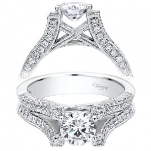 Taryn 14k White Gold Round Split Shank Engagement Ring TE9311W44JJ
