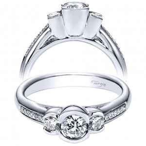 Taryn 14k White Gold Round Split Shank Engagement Ring TE94257W44JJ
