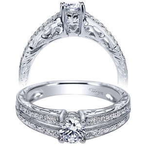 Taryn 14k White Gold Round Split Shank Engagement Ring TE94280W44JJ