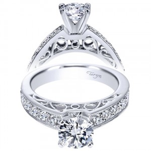 Taryn 14k White Gold Round Straight Engagement Ring TE5587W44JJ