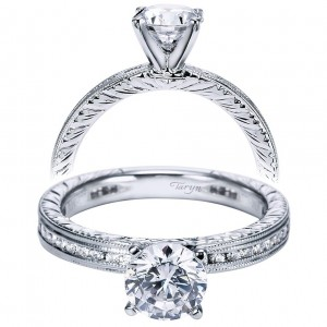 Taryn 14k White Gold Round Straight Engagement Ring TE5669W44JJ