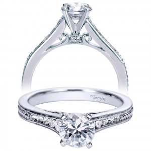 Taryn 14k White Gold Round Straight Engagement Ring TE8065W44JJ