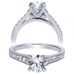 Taryn 14k White Gold Round Straight Engagement Ring TE8221W44JJ