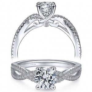 Taryn 14k White Gold Round Twisted Diamond Engagement Ring TE9408W44JJ