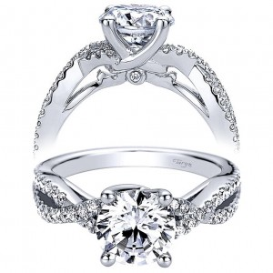 Taryn 14k White Gold Round Twisted Diamond Engagement Ring TE9409W44JJ