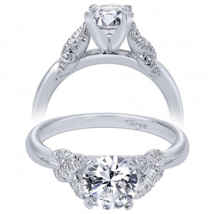 Taryn 14k White Gold Round Twisted Engagement Ring TE10493W44JJ