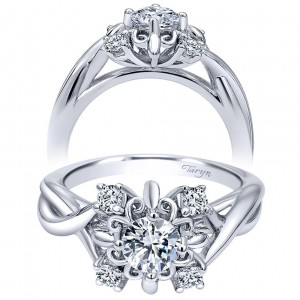 Taryn 14k White Gold Round Twisted Engagement Ring TE910088W44JJ