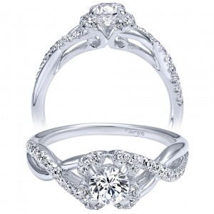 Taryn 14k White Gold Round Twisted Engagement Ring TE910155W44JJ