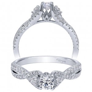 Taryn 14k White Gold Round Twisted Engagement Ring TE910175W44JJ