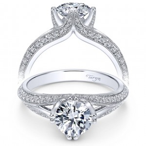 Taryn 14k White Gold Split Shank Round Engagement Ring TE6946W44JJ