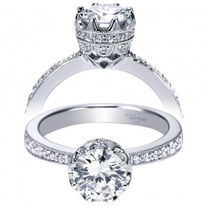 Taryn 14k White Gold Straight Round Engagement Ring TE3977W44JJ