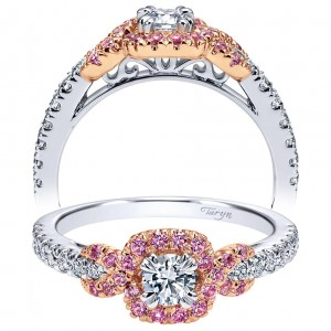 Taryn 14k White/Rose Gold Round Halo Engagement Ring TE911733R1T44PS