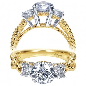 Taryn 14k Yellow Gold Round 3 Stones Engagement Ring TE5368M43JJ