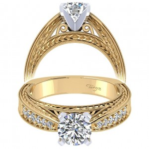 Taryn 14k Yellow Gold Round Straight Engagement Ring TE4177M44JJ