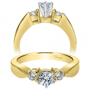 Taryn 14k Yellow/White Gold Round 3 Stones Engagement Ring TE1705M43JJ