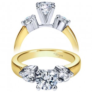 Taryn 14k Yellow/White Gold Round 3 Stones Engagement Ring TE2790M43JJ