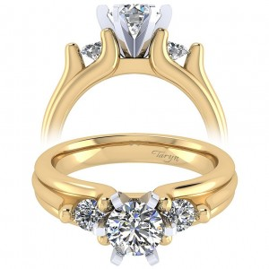 Taryn 14k Yellow/White Gold Round 3 Stones Engagement Ring TE3751M44JJ