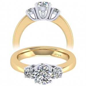 Taryn 14k Yellow/White Gold Round 3 Stones Engagement Ring TE3813M44JJ