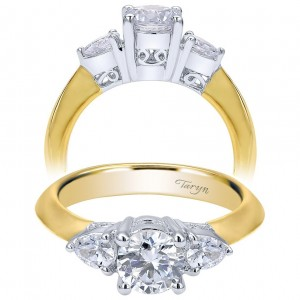 Taryn 14k Yellow/White Gold Round 3 Stones Engagement Ring TE3819M44JJ