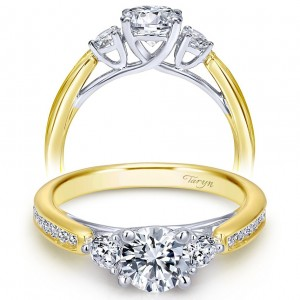 Taryn 14k Yellow/White Gold Round 3 Stones Engagement Ring TE7449M44JJ