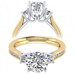 Taryn 14k Yellow/White Gold Round 3 Stones Engagement Ring TE7476M44JJ