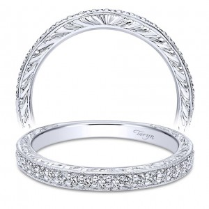 Taryn 14 Karat White Gold Round Straight Wedding Band TW10191W44JJ