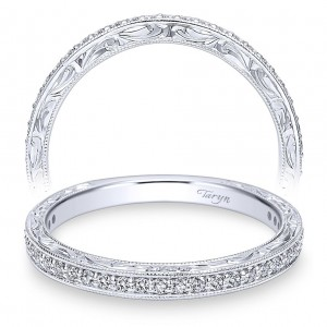 Taryn 14 Karat White Gold Round Straight Wedding Band TW11793S4W44JJ
