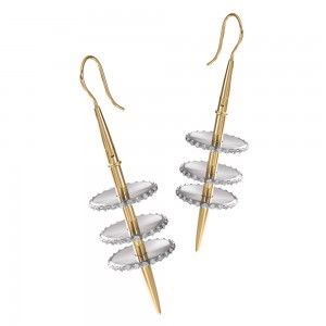 Kretchmer Platinum/18 Karat Venus Tension Set Earrings