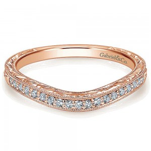 Gabriel 14 Karat Rose Gold Curved Wedding Band WB11599R4K44JJ