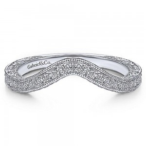 Gabriel 14 Karat White Gold Curved Wedding Band WB14445O4W44JJ