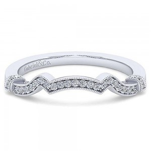 Gabriel 14 Karat White Gold Curved Wedding Band WB15103R0W44JJ