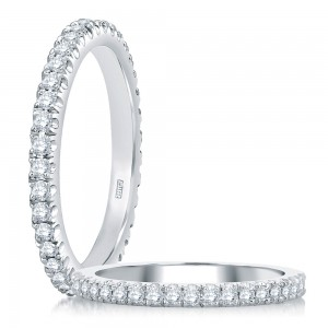 A.JAFFE Platinum Diamond Wedding Ring / Band WR0855
