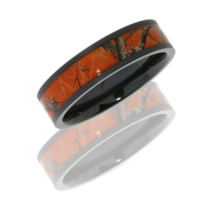 lashbrook z6f14rtap orange beadblast camo wedding ring or band - Orange Camo Wedding Rings