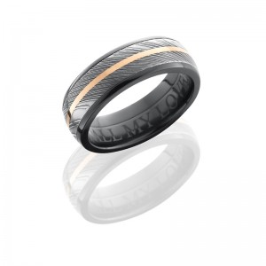 Lashbrook Z7D15-Damascus11-14KR Satin-Acid-Polish Zirconium Damascus Steel Wedding Ring or Band