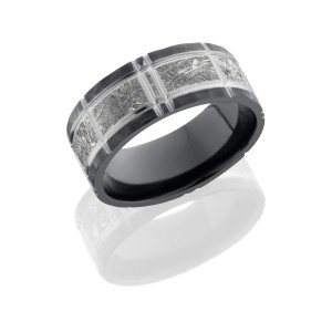 Lashbrook Z8.5F15/METEORITE/CROSSHATCH Meteorite Wedding Ring or Band