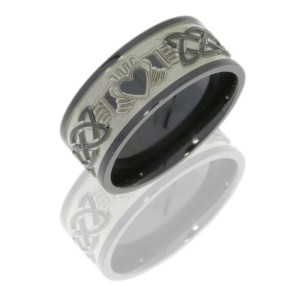 Lashbrook Z9F/CLADDAGHCELTIC BEAD-POLISH Zirconium Wedding Ring or Band