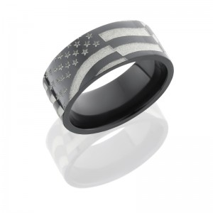 Lashbrook Z9F/WLCVAMERICANFLAG POLISH Zirconium Wedding Ring or Band