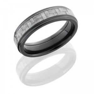 Lashbrook ZC6FGE13/SILVERCF Polish Zirconium Carbon Fiber Wedding Ring or Band