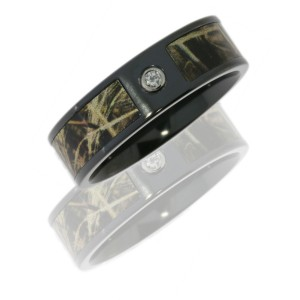 Lashbrook ZCAMO8F14SEG/RTMAX4DIA.05B POLISH Camo Wedding Ring or Band