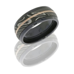 Lashbrook ZPF10D16/DAMASCUS11/14KR SATIN-ACID-POLISH Zirconium Wedding Ring or Band
