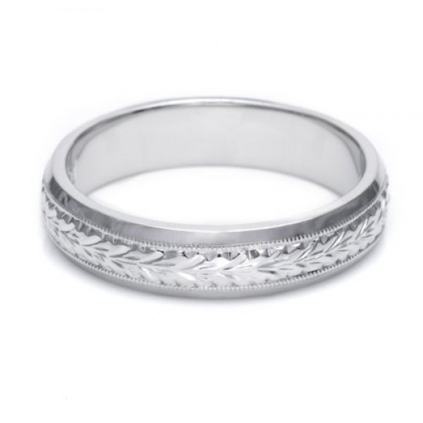 Platinum 2mm Hand Engraved Wedding Band With Milgrain: Tacori GU92 Platinum Hand Engraved Wedding Band