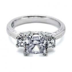 Tacori Hand Engraved Platinum Engagement Ring HT2329
