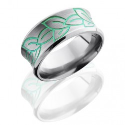 Lashbrook 10CBLEAVES Green Ano Satin-Polish Titanium Wedding Ring or Band
