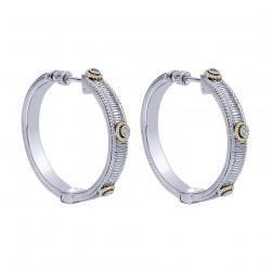 Gabriel Fashion Silver / 18 Karat Two-Tone Hoops Hoop Earrings EG10723MY5JJ