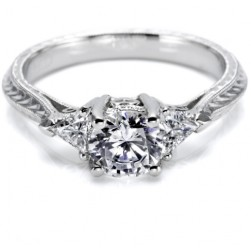 Tacori Hand Engraved Platinum Engagement Ring HT2227