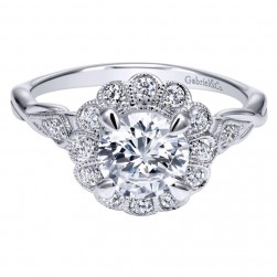 Gabriel 14 Karat Contemporary Engagement Ring ER11799R4W44JJ